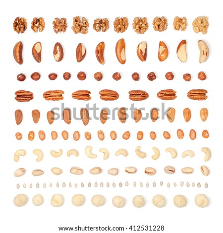 nuts organized on white background. flat lay concept top view - stock photo