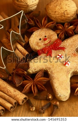 Nuts, spices, cookie cutter and christmas decoration