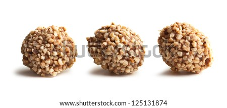nuts truffles on white background - stock photo