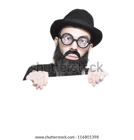 Nutty Male Science Professor In Hat, Fake Beard And Geeky Glasses Holding Education Copyspace Sign Over White Background - stock photo