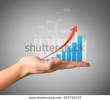 nvestment concept with financial chart symbols coming from a hand  - stock photo