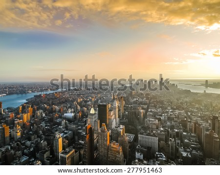 NY city view in sunset.