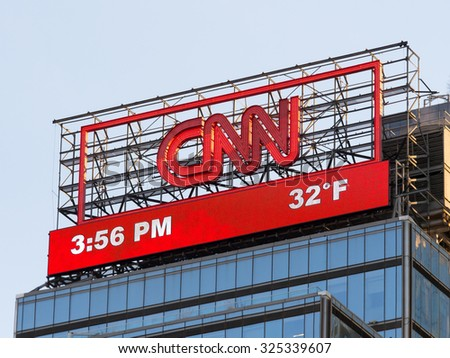 NY - MANHATTAN - 31 DEC 2014: classic view from columbus circle of the CNN Logo in Manhattan