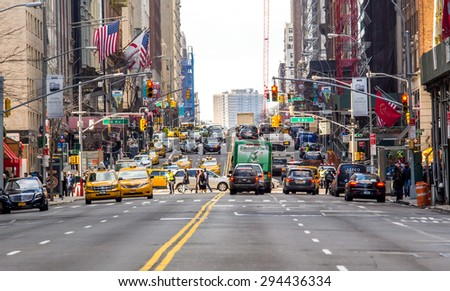NY - MANHATTAN, 01 JAN 2015: Classic scenario of traffic jam long the New York City street - stock photo