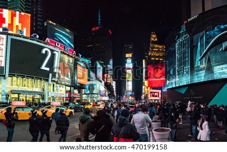 NY - MANHATTAN, 01 JAN 2015: Street view photography of famous Times Square, symbol of Manhattan