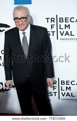 """NYC - APRIL 20 - Director Martin Scorsese arrives for the opening night of the Tribeca Film Festival and world premier of """"The Union"""" on April 20, 2011 in New York City, NY - stock photo"""
