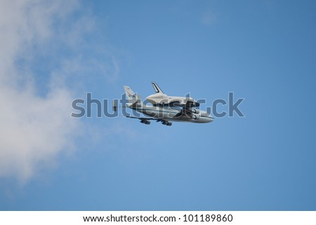 NYC - APRIL 27: Space Shuttle Enterprise, transported from Smithsonian Museum to its final home in New York City, on April 27, 2012.