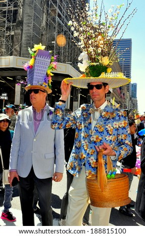 NYC - April 20, 2014:  Two gentlemen sporting original hats at the April 20, 2014 annual Easter Parade on Fifth Avenue   *