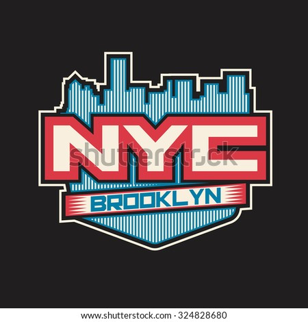 NYC Brooklyn. College New York typography, T-shirt design, graphics. Typography. Sport. - stock photo