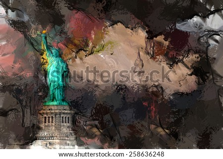 NYC Liberty Landscape - stock photo