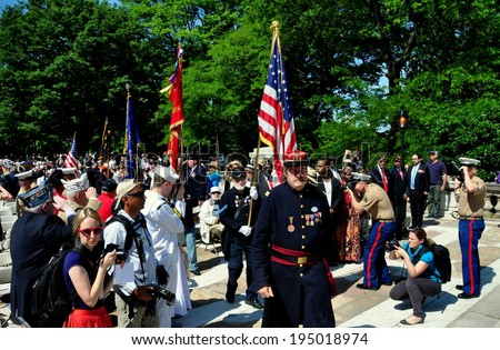 NYC - May 26, 2014:  Trooping of the colours at the annual Memorial Day holiday Ceremonies in Riverside Park - stock photo