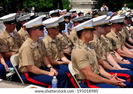 NYC - May 26, 2014:  United States Marines, veterans, and U. S. Navy sailors attending the Memorial Day holiday ceremonies in Riverside Park - stock photo
