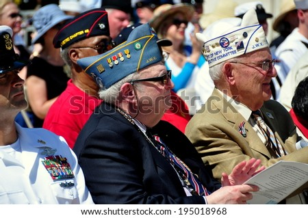 NYC - May 26, 2014:  War veterans attending the annual Memorial Day holiday ceremonies in Riverside Park - stock photo