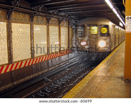 NYC MTA SUbway - W Train at CIty Hall Station w/ plastic wrapping