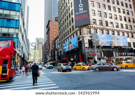 NYC, New York: August 28, 2016: Manhattan, New York City. New York City is the most populous city in the United States.