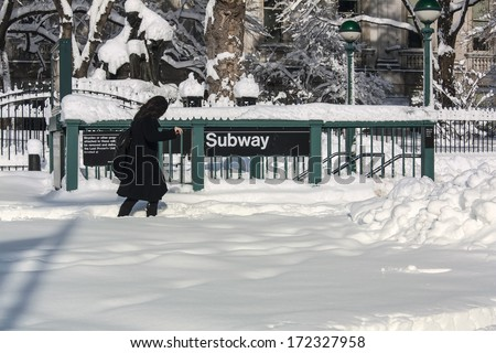 NYC Snowstorm  - stock photo