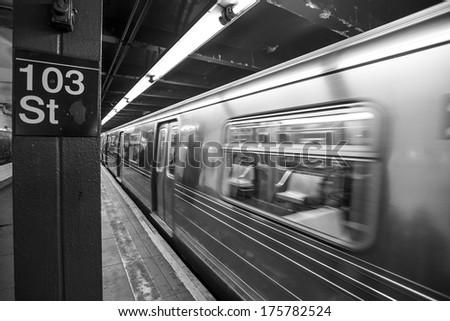 NYC  underground speed subway whit motion effect - stock photo
