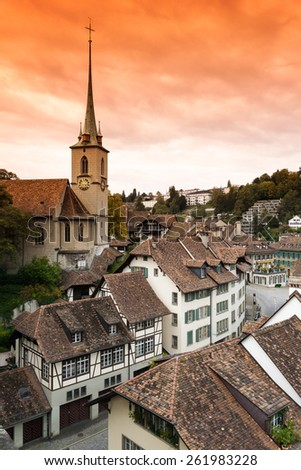 Nydeggkirche in Bern with a beautiful sky. - stock photo