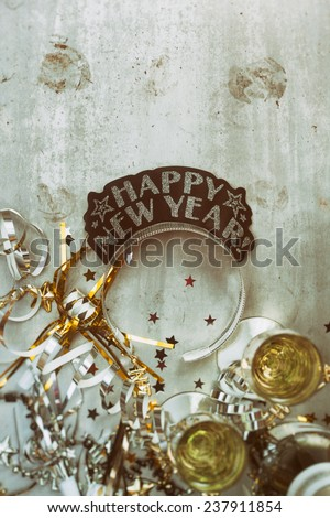NYE Background: Grungy New Year Background With Champagne - stock photo