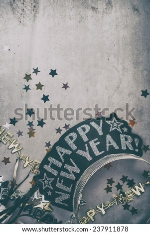 NYE Background: Happy New Year Crown And Confetti - stock photo