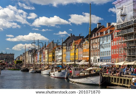 Nyhavn, a waterfront in Copenhagen, Denmark - stock photo
