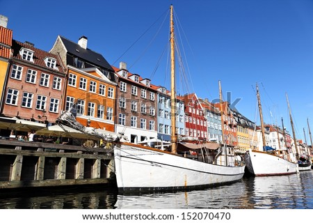 Nyhavn (New Harbor), Copenhagen - stock photo