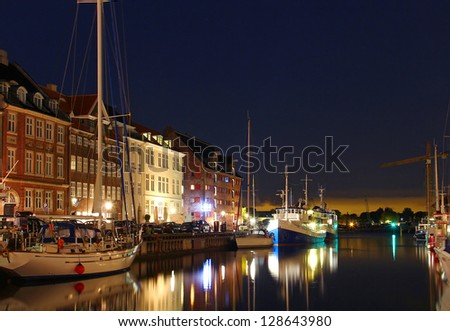 Nyhavn - popular district of Copenhagen, Denmark - stock photo