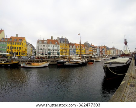 Nyhavn 17th century waterfront canal and entertainment district in Copenhagen, Denmark