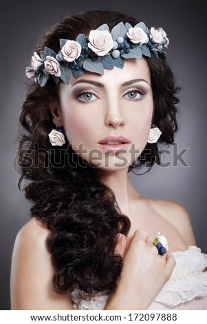 Nymph. Portrait of Genuine  Gorgeous Woman in Wreath of Flowers - stock photo