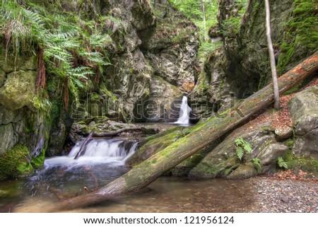 Nyznerov waterfalls - Silver brook, Czech republic. - stock photo