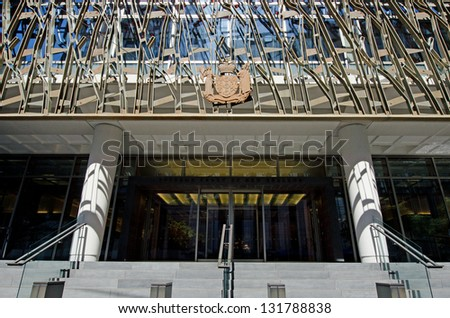 NZ High Court building in Wellington New Zealand. - stock photo