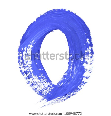 O - Blue handwritten letters over white background
