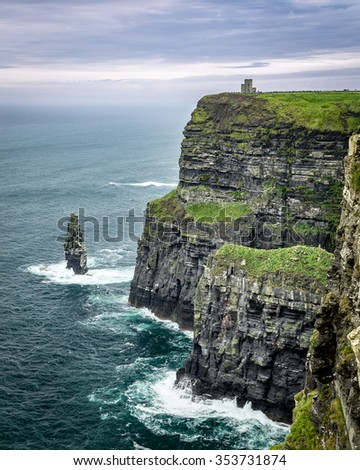 O'Brien's Tower atop the Cliffs of Moher on the Dingle Peninsula, Western Ireland - stock photo