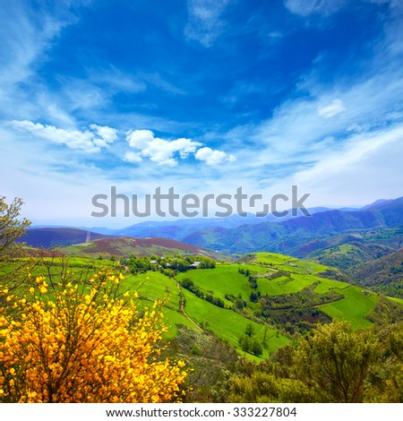 O Cebreiro mountains by the way of Saint James in Galicia Spain - stock photo