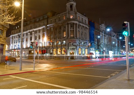 O'Connell street in Dublin at night, Ireland - stock photo