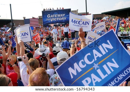 O'FALLON - AUGUST 31: Senator McCain, wife Cindy and entourage make appearance at a rally in O'Fallon near St. Louis, MO on August 31, 2008 - stock photo