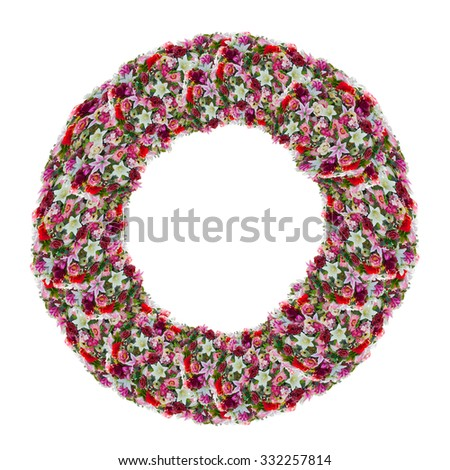 o, flower letter isolated on white background - stock photo
