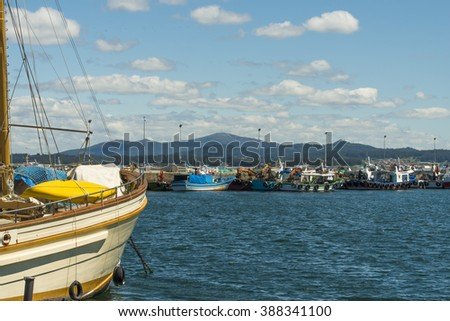 O GROVE, SPAIN - MAY 24, 2015: Fishing boats in the port city of O Grove, in the Rias Baixas (Galicia) - stock photo