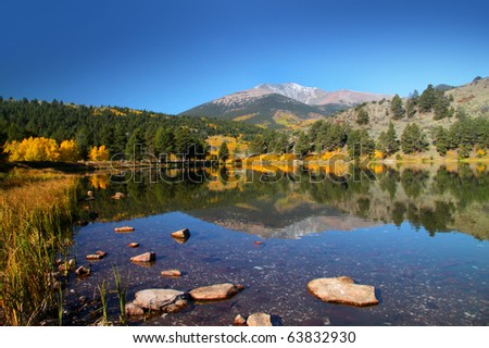 O\'Haver lake in middle of Rocky mountains in Colorado - stock photo