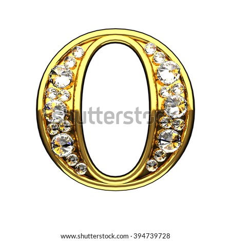 o isolated golden letters with diamonds on white