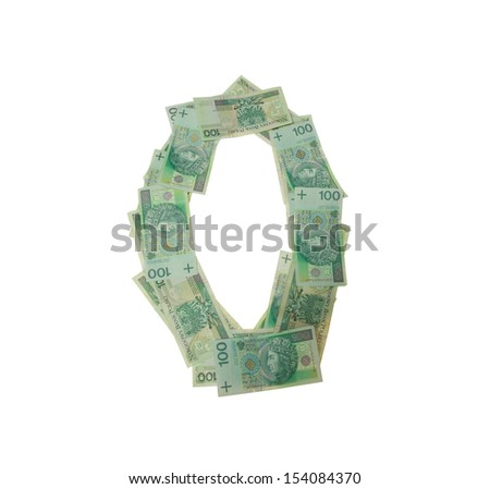 O letter  character- isolated with clipping patch on white background. Letter made of Polish hundred zlotys green bank notes - 100 PLN. - stock photo