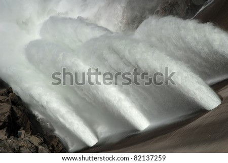 O'Shaughnessy Dam at Hetch Hetchy Reservoir in Yosemite National Park. The source of water for San Francisco, CA. - stock photo