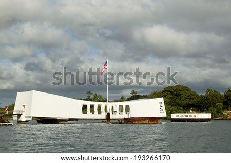 OAHU, HAWAII - APRIL 23, 2014 - USS Arizona Memorial--April 23, 2014, Oahu, Hawaii - stock photo