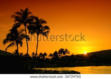 Oahu Hawaii Sunset - stock photo