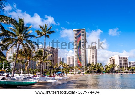 OAHU, HI - JUNE 22 -The Rainbow Tower at the Hawaiian Hilton Village on Waikiki beach on June 22, 2013. The Hawaiian Hilton Village is very popular with families traveling to Hawaii. - stock photo