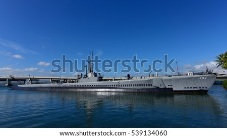 OAHU - NOVEMBER 19: USS Bowfin submarine museum at Pearl Habor on November 19, 2015 in Honolulu, United States of America