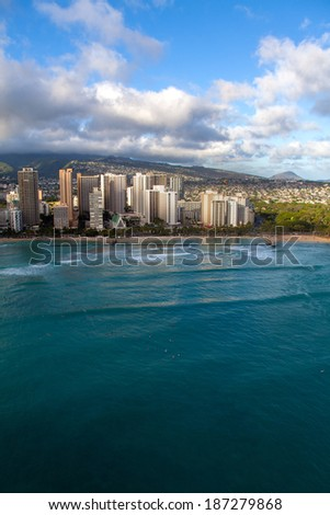 Oahu's cityscape on a beautiful day  - stock photo