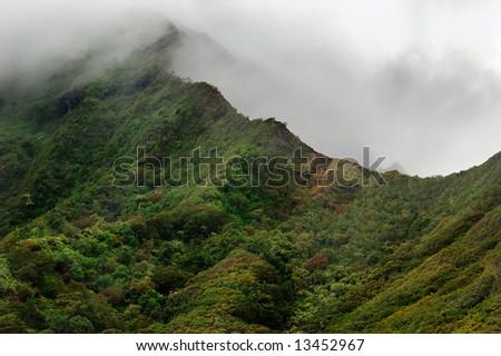 Oahu volcanic mountains, Hawaii Islands, USA - stock photo