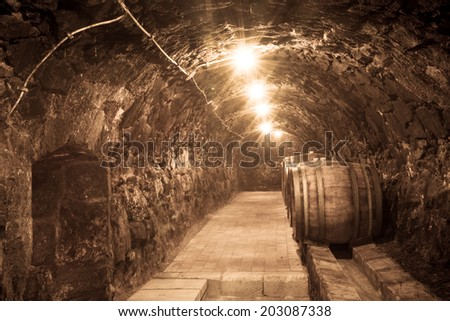 Oak barrels in the tunnel of old Tokaj winery cellar - stock photo