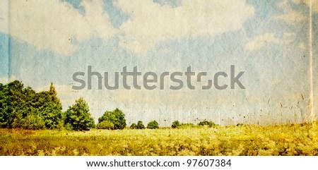 oak copse on grunge background - stock photo